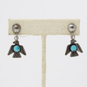 FRED HARVEY ERA 925 Turquoise Bird SCREW Earrings